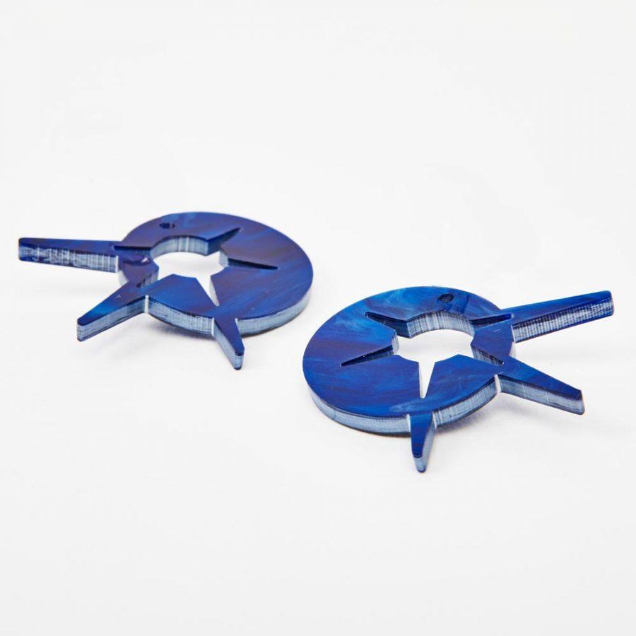 Toolally Earrings - Charming Hoops - Starburst Charm - Blue Swirl
