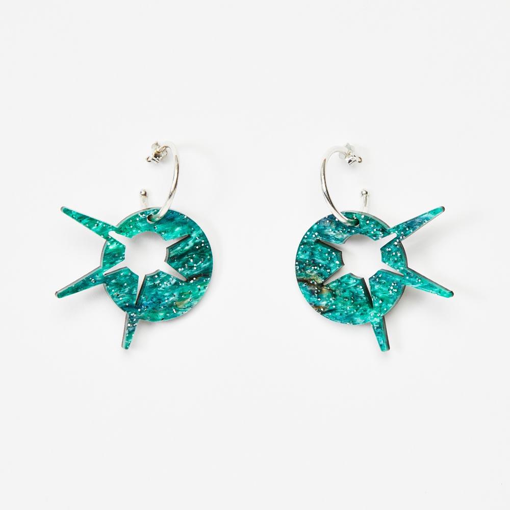 Toolally Earrings - Charming Hoops - Starburst Hoop - Green Sparkle
