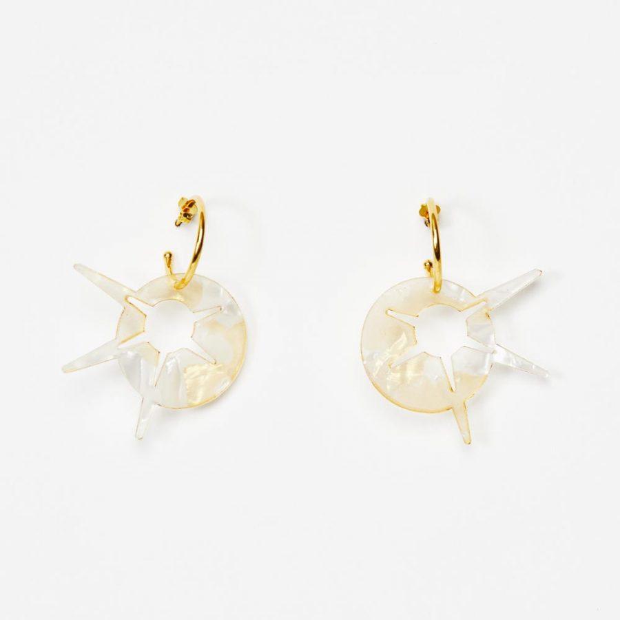 Toolally Earrings - Charming Hoops - Starburst Hoop - White & Gold Pearl