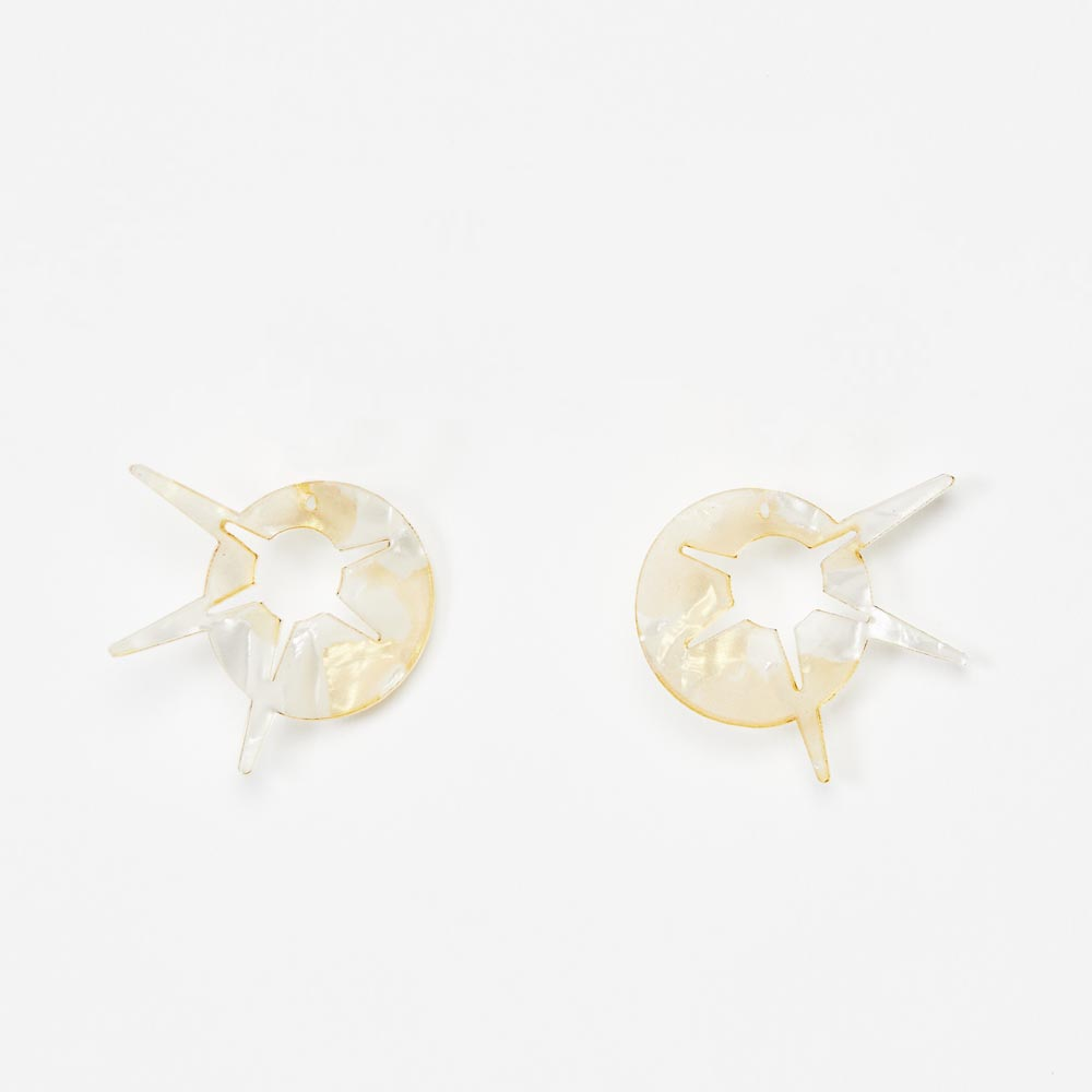 Toolally Earrings - Charming Hoops - Starburst Charm - White & Gold Pearl