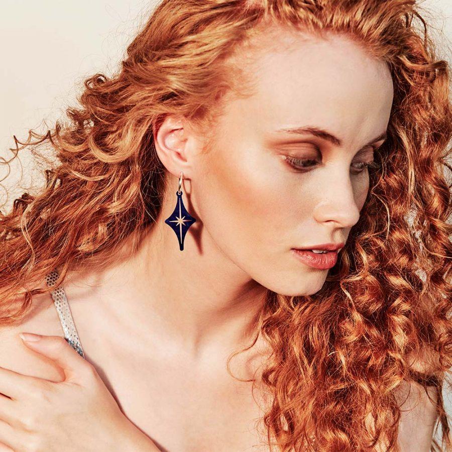 Toolally Earrings - Charming Hoops - Starlight Hoop - Blue Swirl