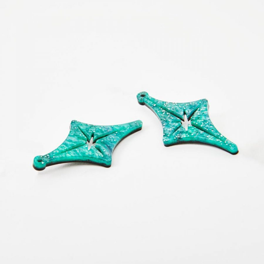 Toolally Earrings - Charming Hoops - Starlight Charm - Green Sparkle