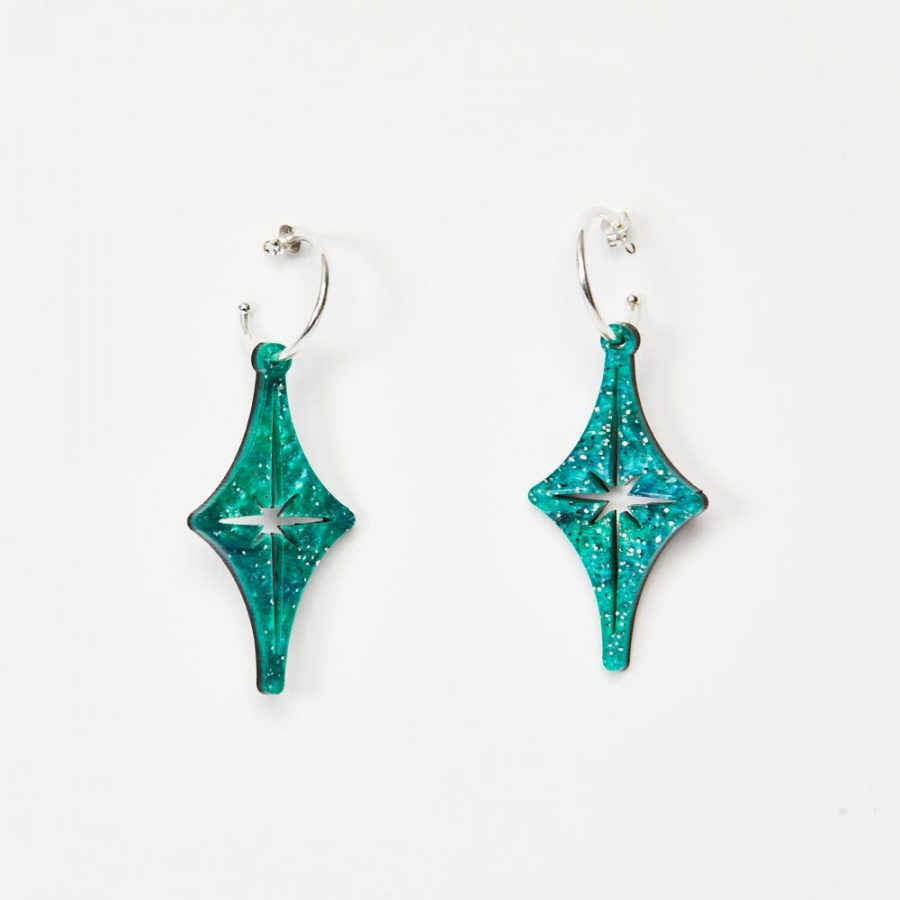 Toolally Earrings - Charming Hoops - Starlight Hoop - Green Sparkle