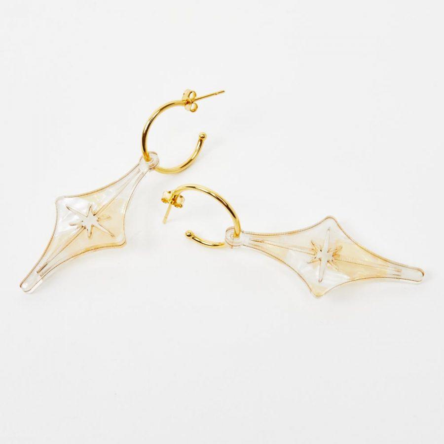 Toolally Earrings - Charming Hoops - Starlight Hoop - White & Gold Pearl
