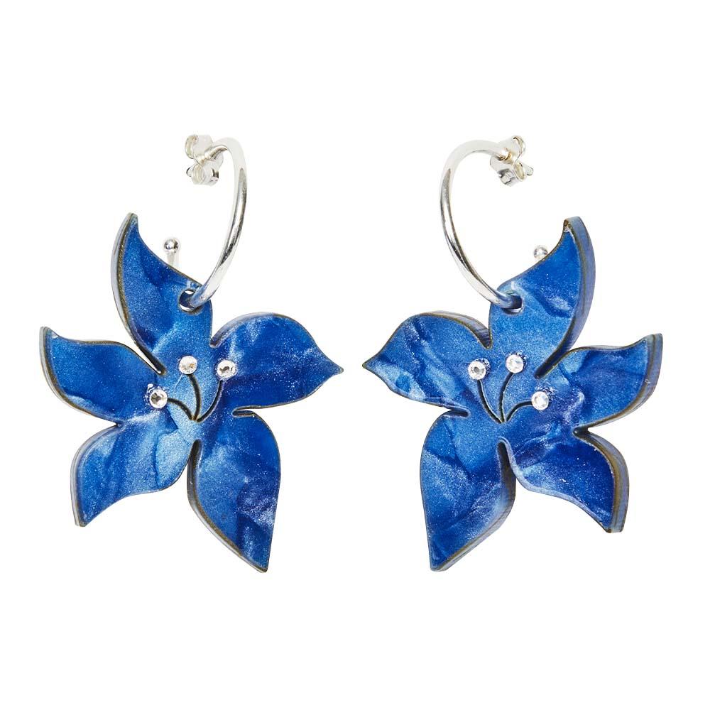 Toolally Earrings - Charming Hoops - Blossom Hoop - Sapphire Pearl