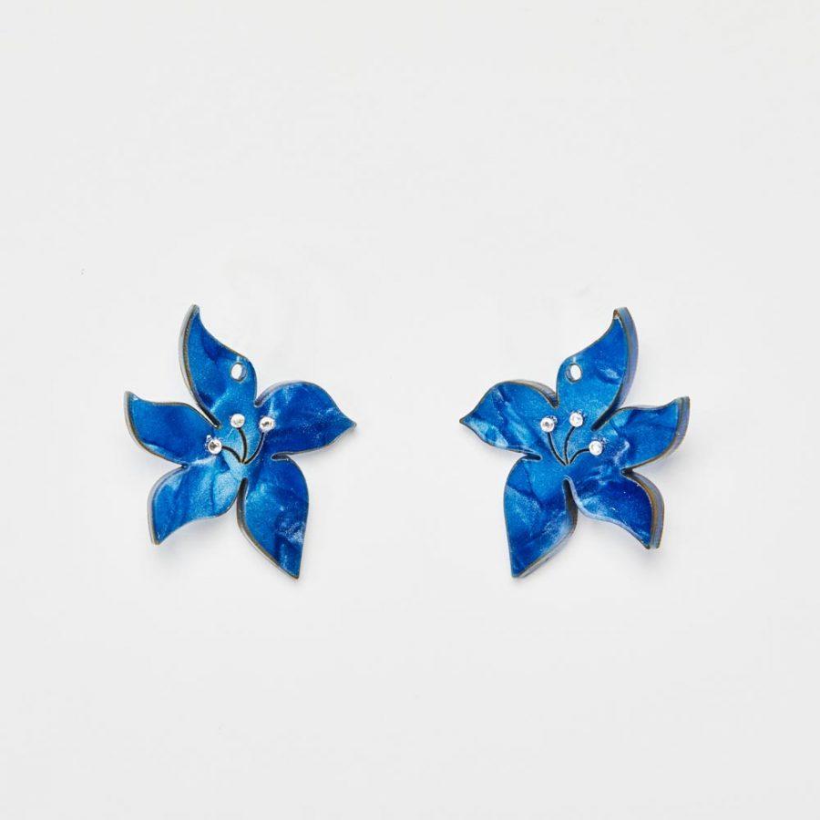 Toolally Earrings - Charming Hoops - Blossom Charm - Sapphire Pearl