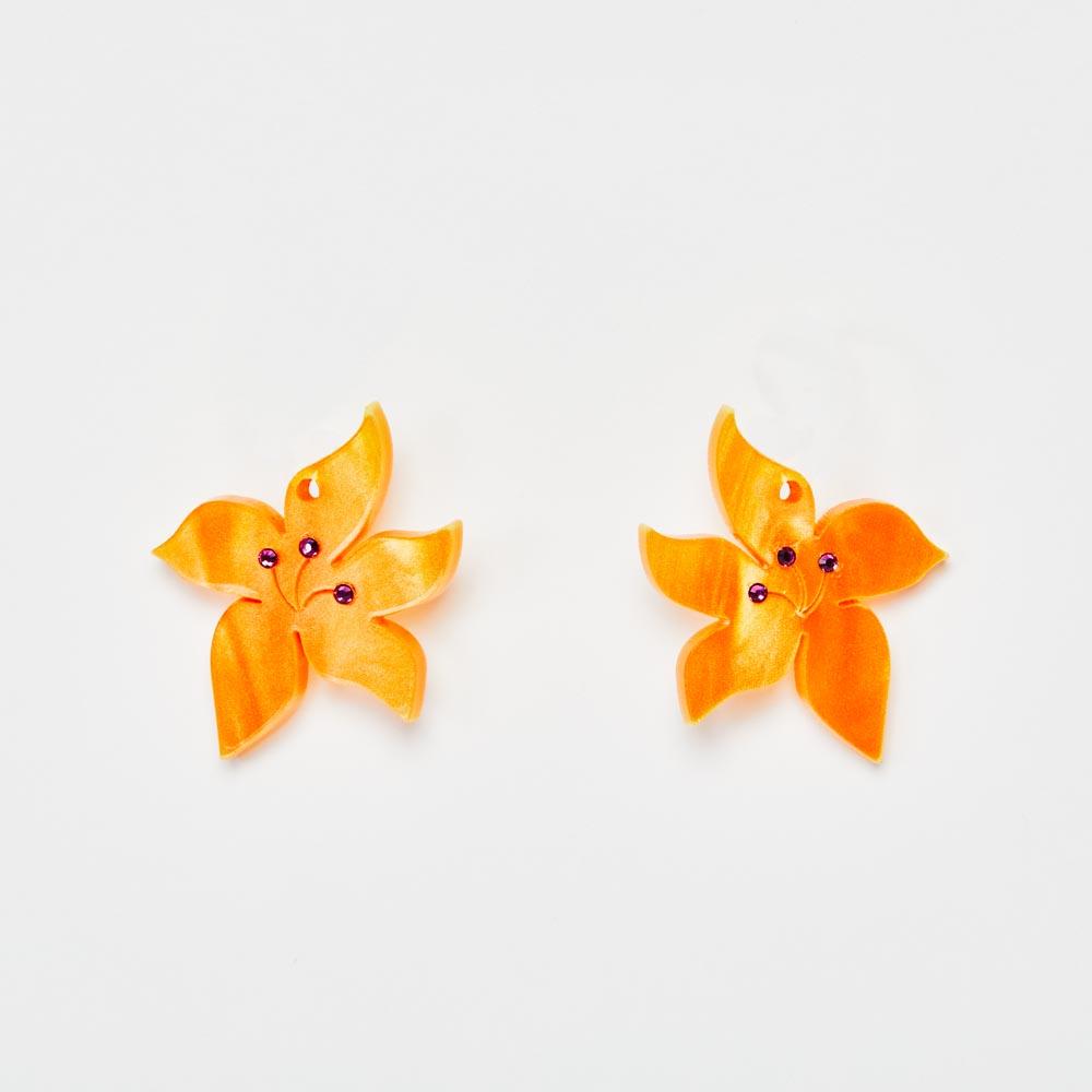 Toolally Earrings - Charming Hoops - Blossom Charm - Orange Pearl