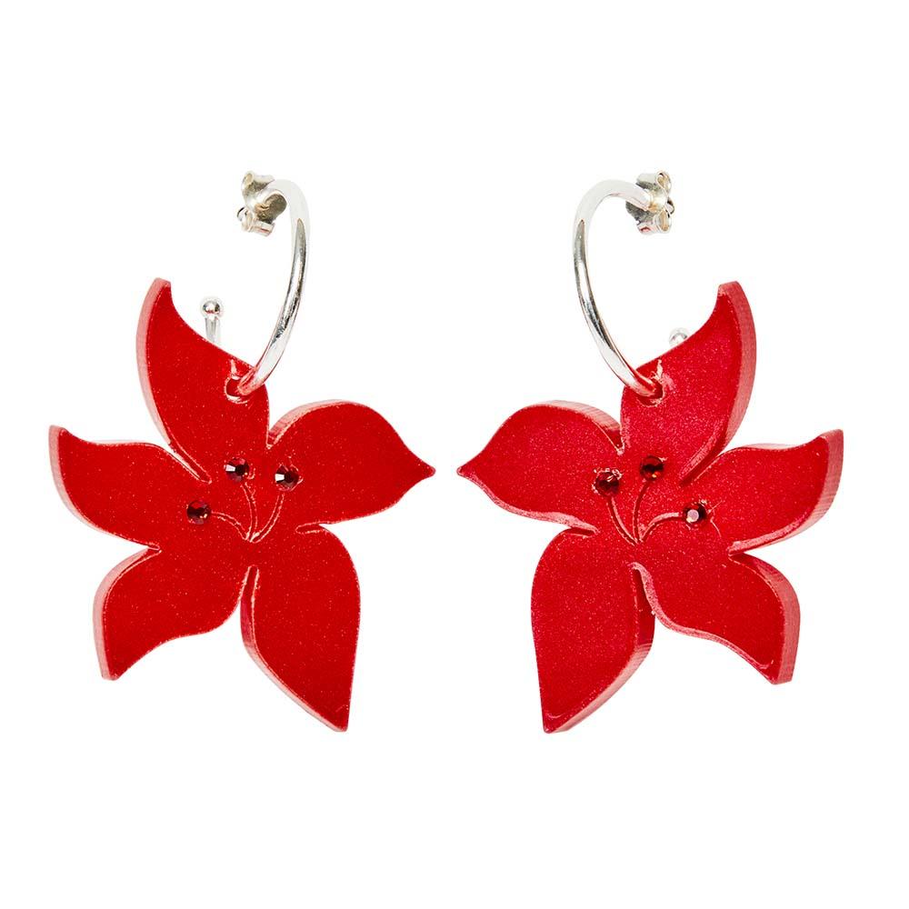 Toolally Earrings - Charming Hoops - Blossom Hoop - Red Pearl