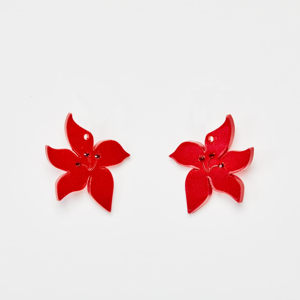 Toolally Earrings - Charming Hoops - Blossom Charm - Red Pearl