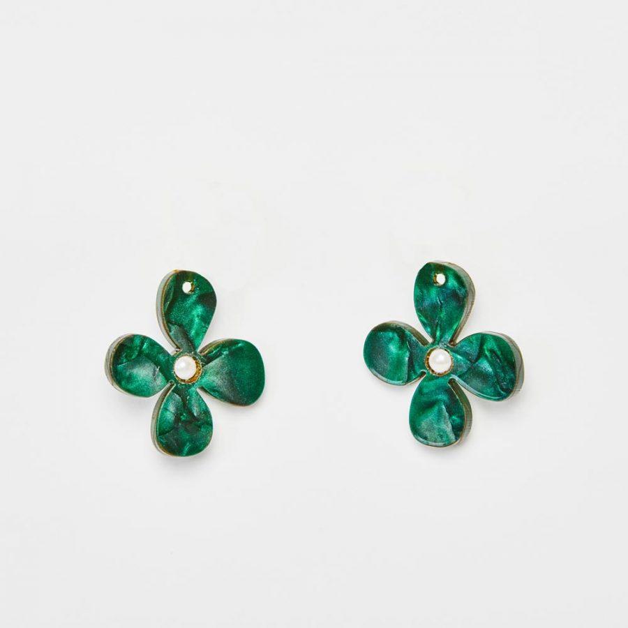Toolally Earrings - Charming Hoops - Daisy Charm - Emerald Pearl