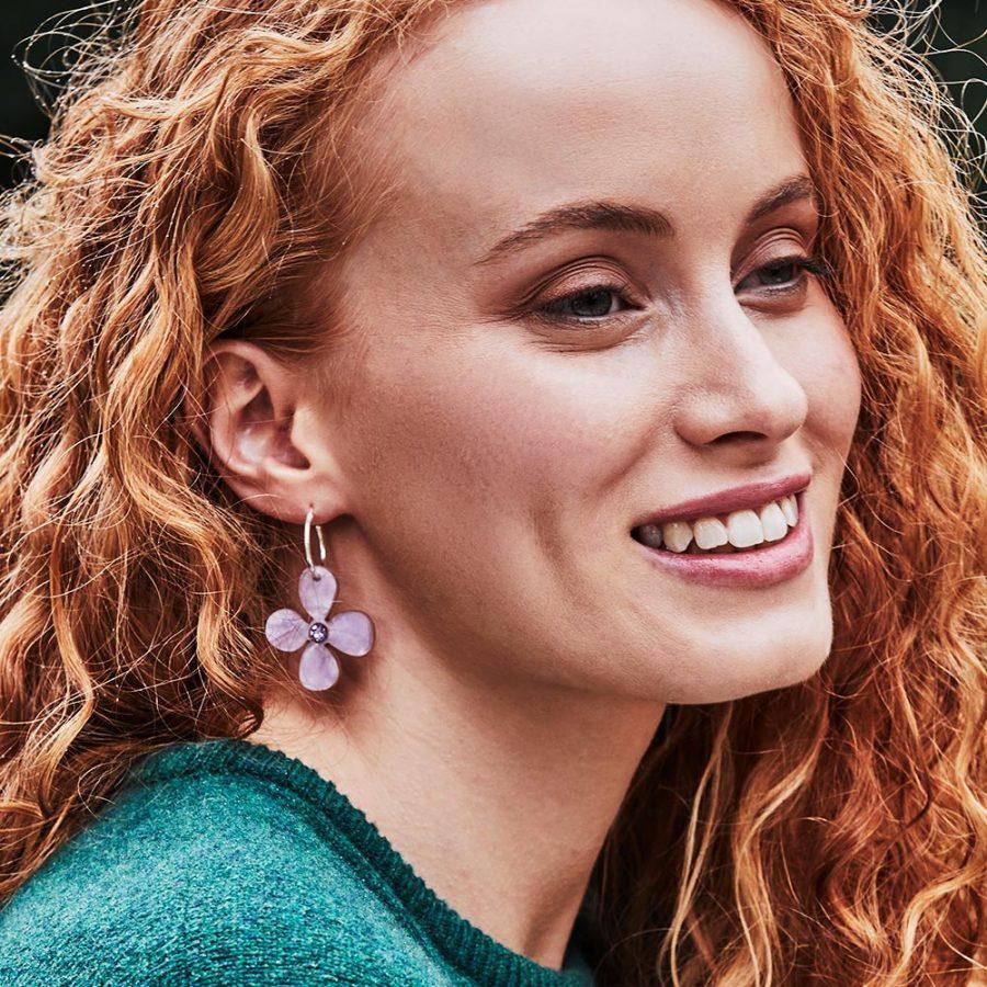 Toolally Earrings - Charming Hoops - Daisy Hoop - Lilac Pearl