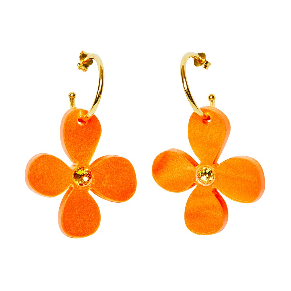 Toolally Earrings - Charming Hoops - Daisy Hoop - Orange Pearl
