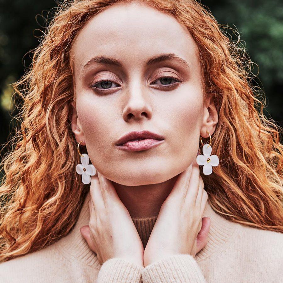 Toolally Earrings - Charming Hoops - Daisy Charm - White Pearl