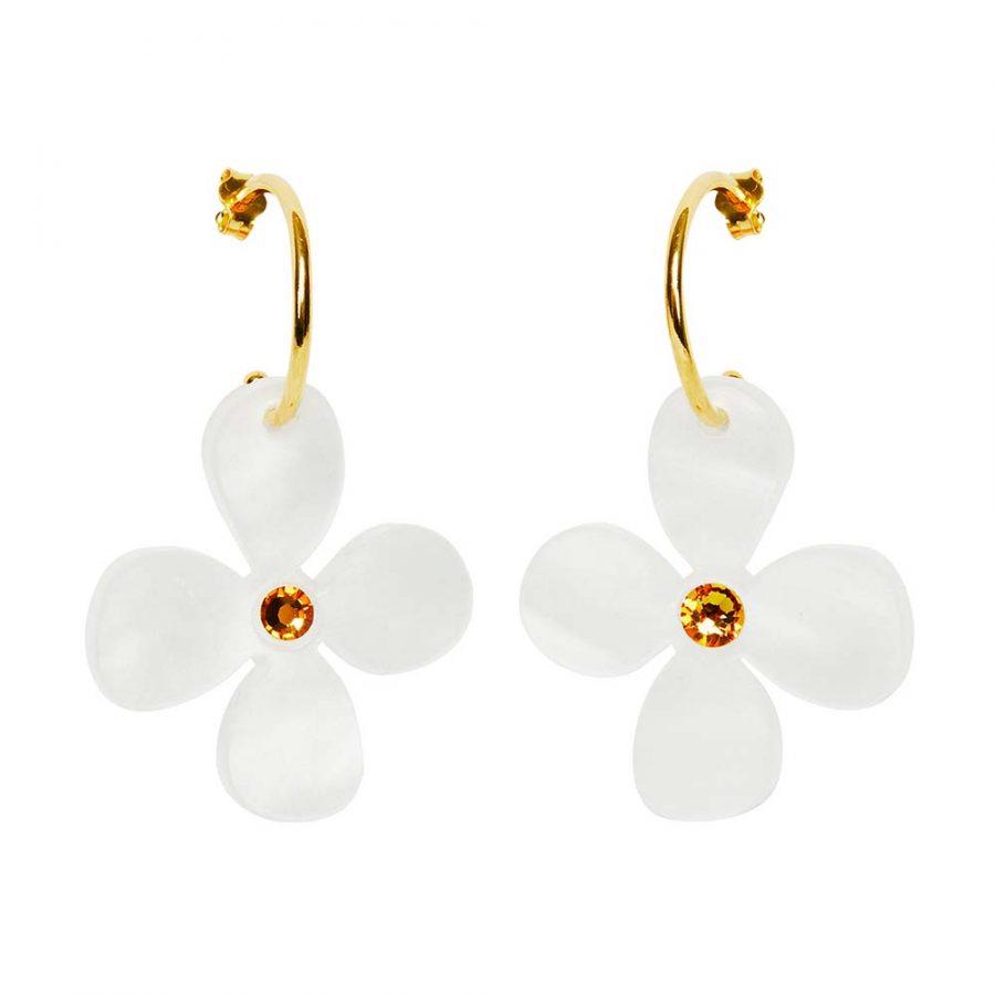 Toolally Earrings - Charming Hoops - Daisy Hoop - White Pearl