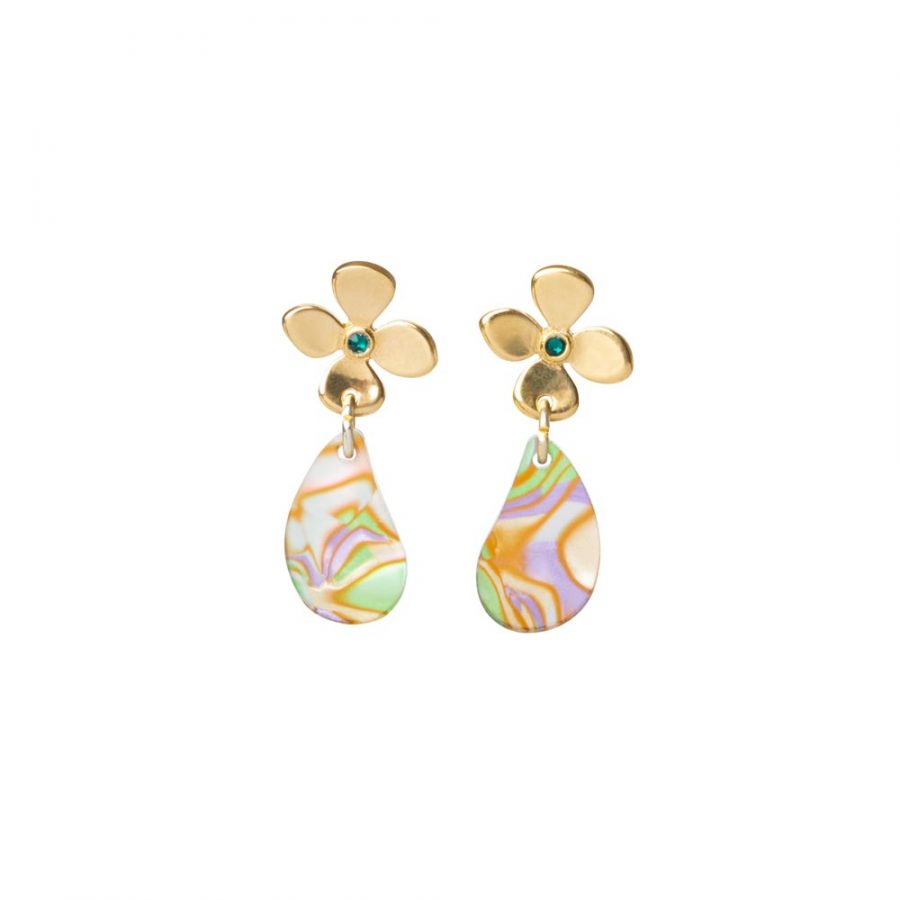Toolally Daisy droplet Earrings in Gold